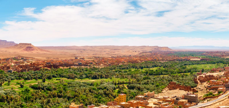 Tinghir绿洲的全景,摩洛哥 免版税库存照片