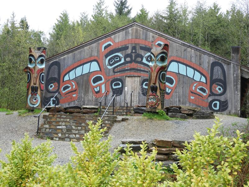 Tingit Clan House in Saxman Village near Ketchikan Alaska. royalty free stock images