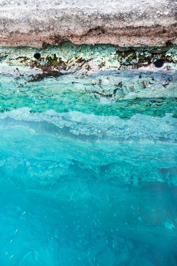 Tini del mare in acqua di mare sull'orlo della scogliera immagini stock