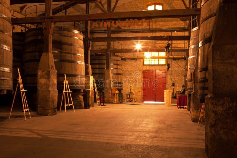 Tini del vino della quercia, strada rialzata, La Rioja, Spagna fotografia stock