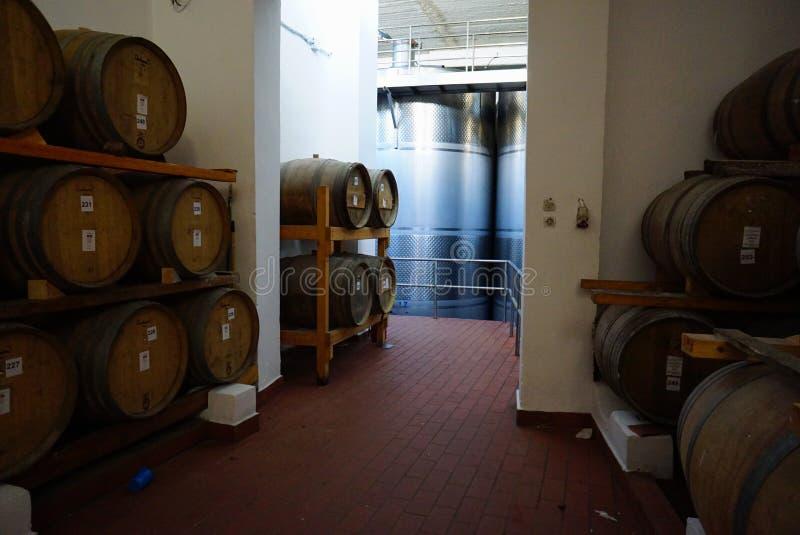 Tini di fermentazione e barilotti di vino in cantina in Santorini fotografia stock