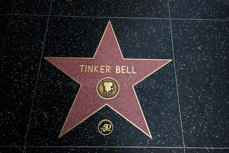 Tinker Bell Walk of Fame star. Los Angeles, CA - December 9, 2017: This is a star on the Hollywood Walk Of Fame with the name of Tinker Bell on it as seen on royalty free stock photography