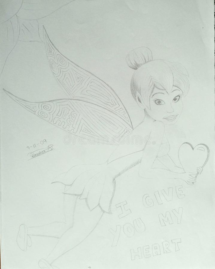 Tinkerbell coloring page vector illustration
