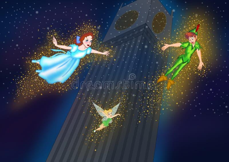 Tinkerbell Peter Pan e voo de Wendy no céu noturno ilustração royalty free