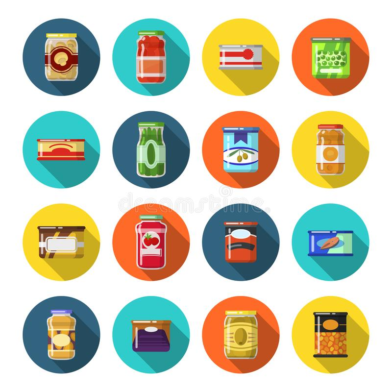Tinned goods set. Food preserved sealed in a tin, preserve or pack to keep for a long time. Vector flat style cartoon illustration isolated on white background stock illustration