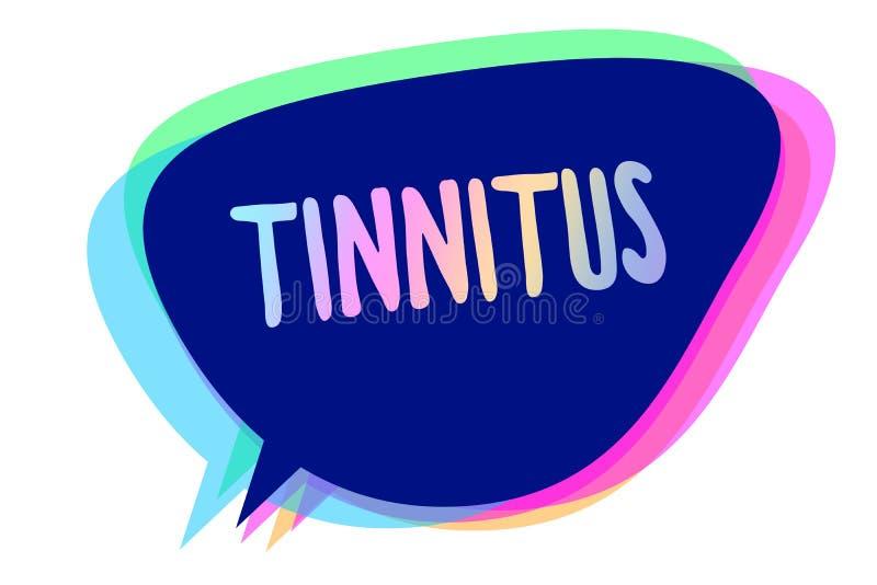 Tinnitus сочинительства текста почерка Концепция знача звенеть a или музыку и подобное ощущение звука в идее пузыря речи ушей я иллюстрация штока