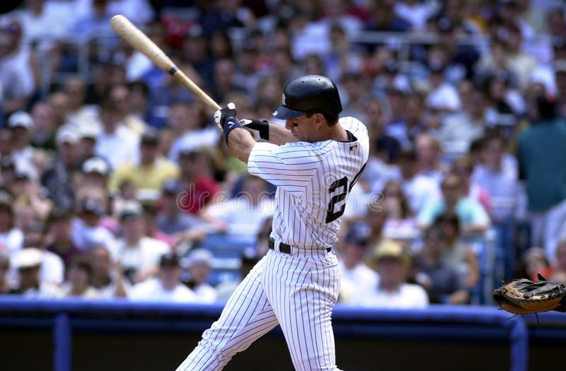 Tino Martinez New York Yankees. Tino Martinez First Basemen for the New York Yankees batting during a regular season game at Yankee Stadium in the Bronx New York royalty free stock photo