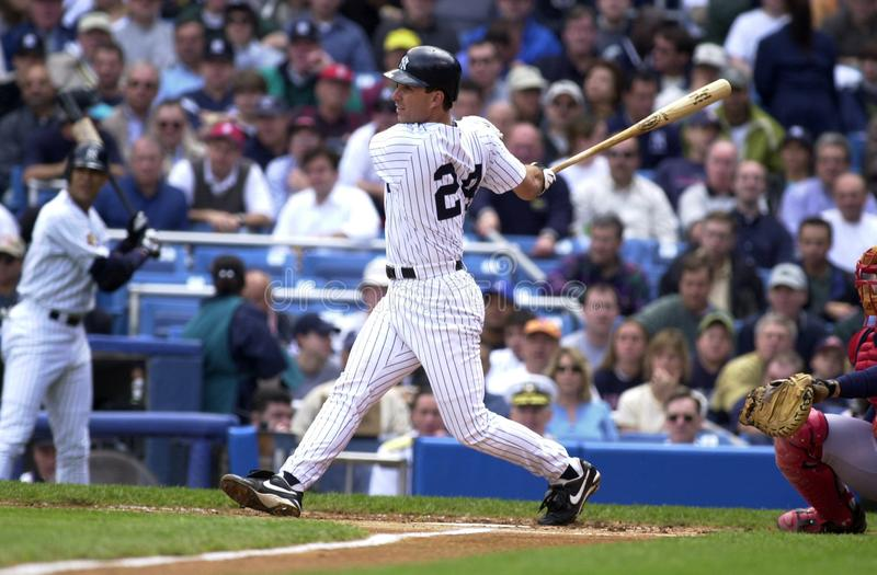 Tino Martinez New York Yankees. Tino Martinez First Basemen for the New York Yankees batting during a regular season game at Yankee Stadium in the Bronx New York royalty free stock image