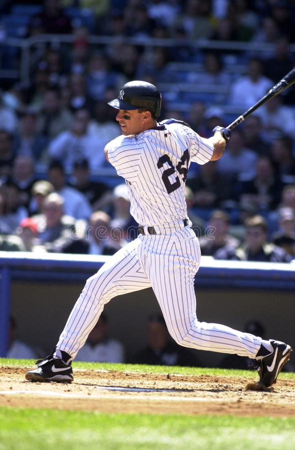Tino Martinez New York Yankees. Tino Martinez First Basemen for the New York Yankees batting during a regular season game at Yankee Stadium in the Bronx New York stock images
