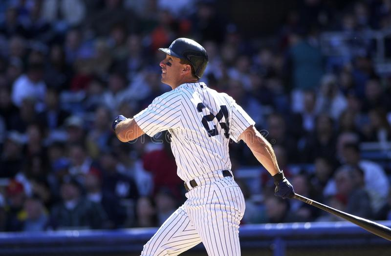 Tino Martinez New York Yankees. Tino Martinez First Basemen for the New York Yankees batting during a regular season game at Yankee Stadium in the Bronx New York royalty free stock images