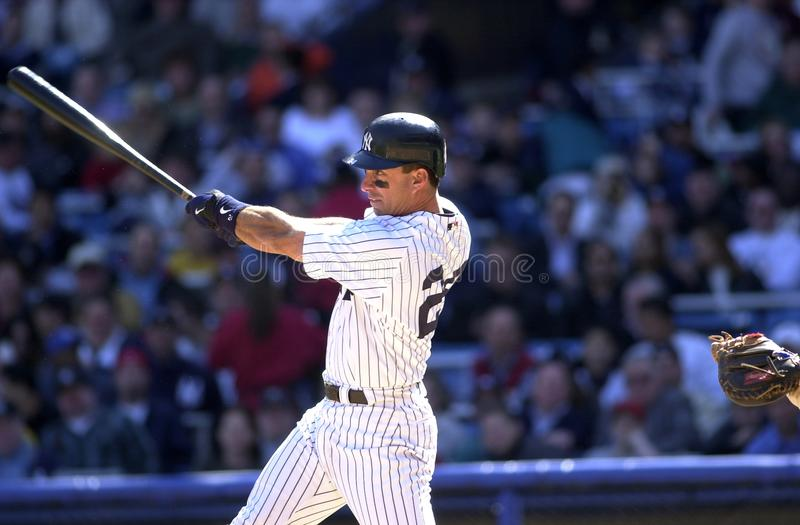 Tino Martinez New York Yankees. Tino Martinez First Basemen for the New York Yankees batting during a regular season game at Yankee Stadium in the Bronx New York stock photos