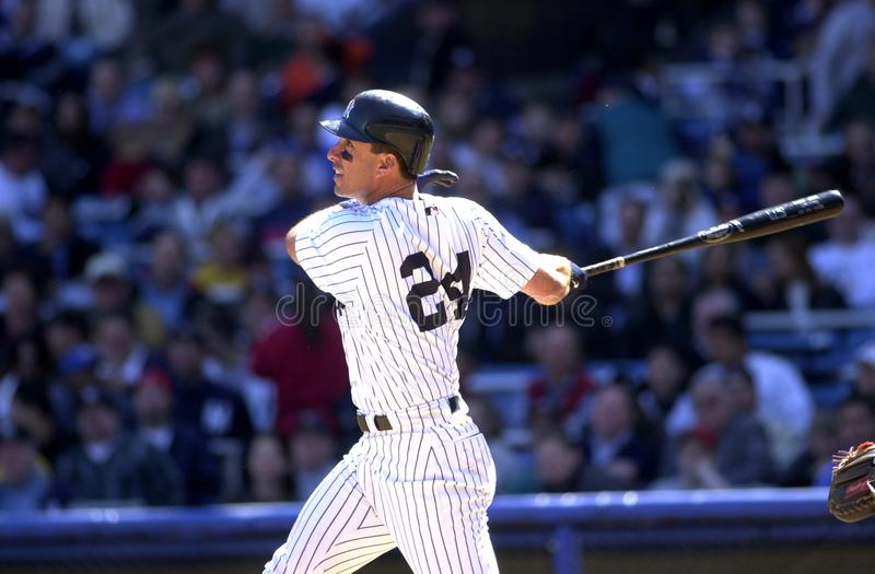 Tino Martinez New York Yankees. Tino Martinez First Basemen for the New York Yankees batting during a regular season game at Yankee Stadium in the Bronx New York stock photography