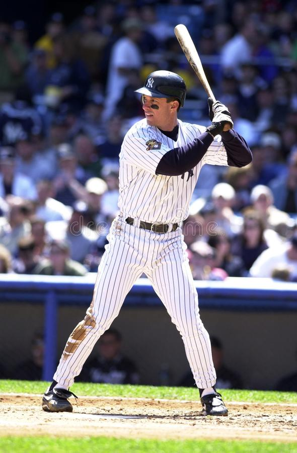 Tino Martinez New York Yankees. Tino Martinez First Basemen for the New York Yankees batting during a regular season game at Yankee Stadium in the Bronx New York royalty free stock photography