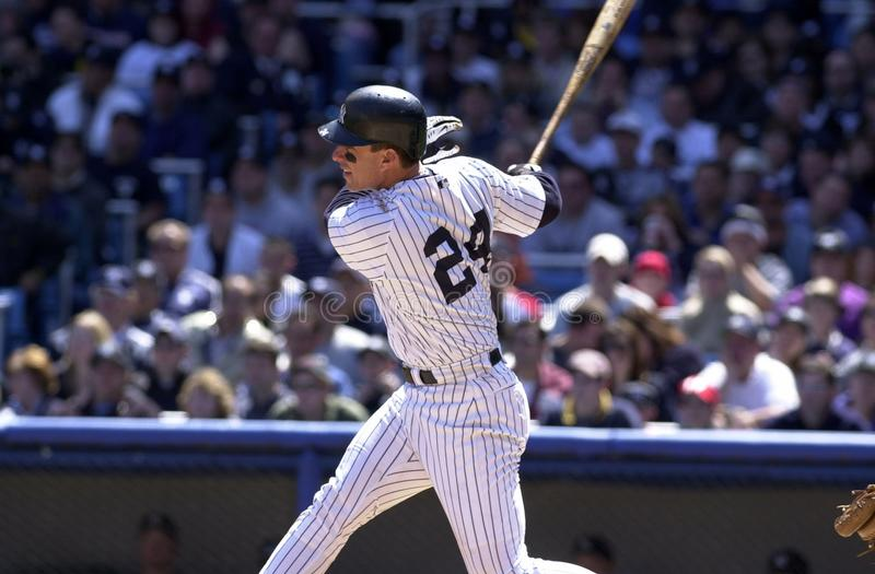 Tino Martinez New York Yankees. Tino Martinez First Basemen for the New York Yankees batting during a regular season game at Yankee Stadium in the Bronx New York stock image
