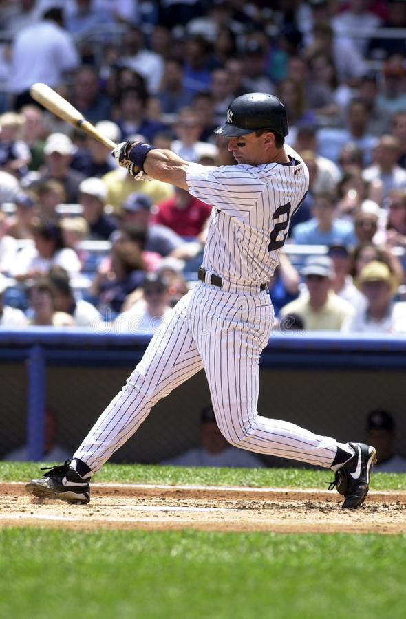 Tino Martinez New York Yankees. Tino Martinez First Basemen for the New York Yankees batting during a regular season game at Yankee Stadium in the Bronx New York royalty free stock photos