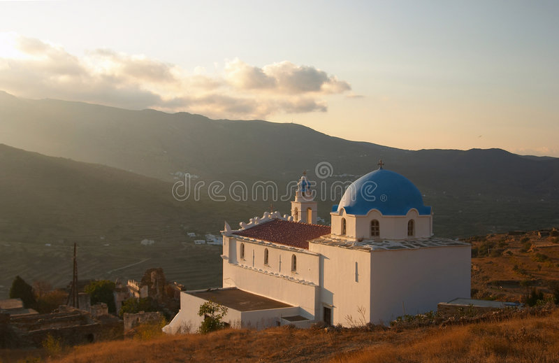 Tinos, Greece, church stock photo