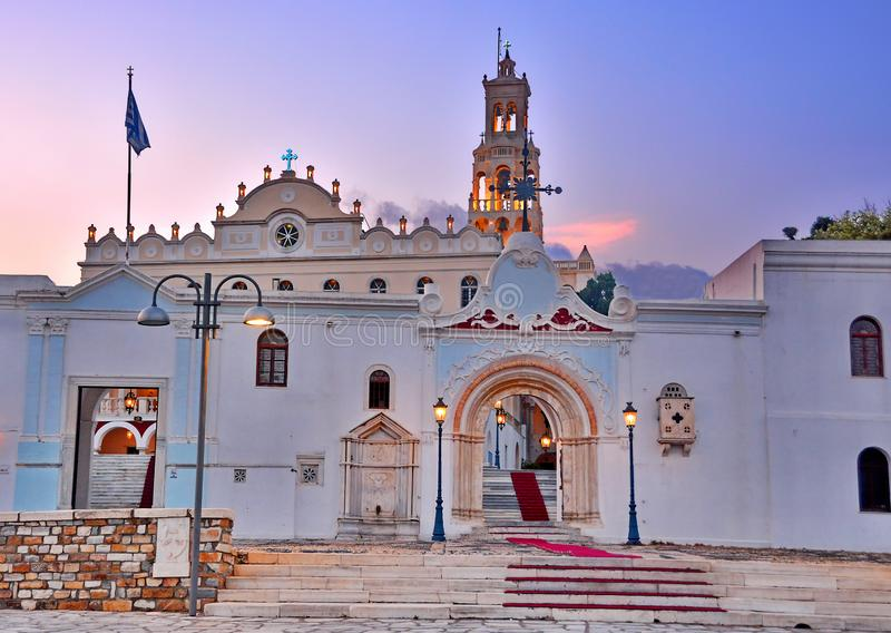 Tinos Island, Greece. Church of Panagia Evangelistria at Tinos island in Greece stock images