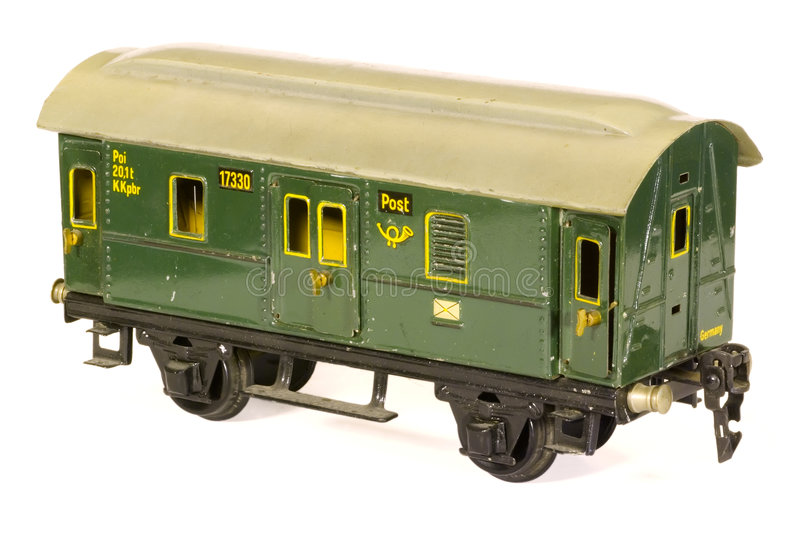 Tinplate german toy 1930s railroad post van royalty free stock photo