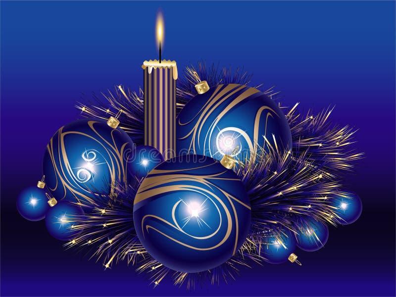 tinsel Χριστουγέννων κεριών σφ&alp διανυσματική απεικόνιση