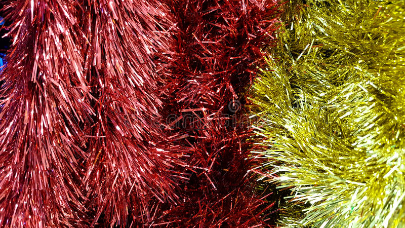 Tinsel background for Christmas, happy new year stock photography
