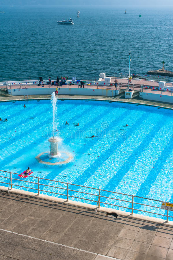 Tinside Lido in Plymouth. Tinside Lido, an art deco swimming pool in downtown Plymouth, England stock image