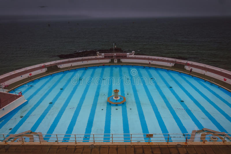 Tinside Lido in Plymouth. On a rainy day, England stock photos