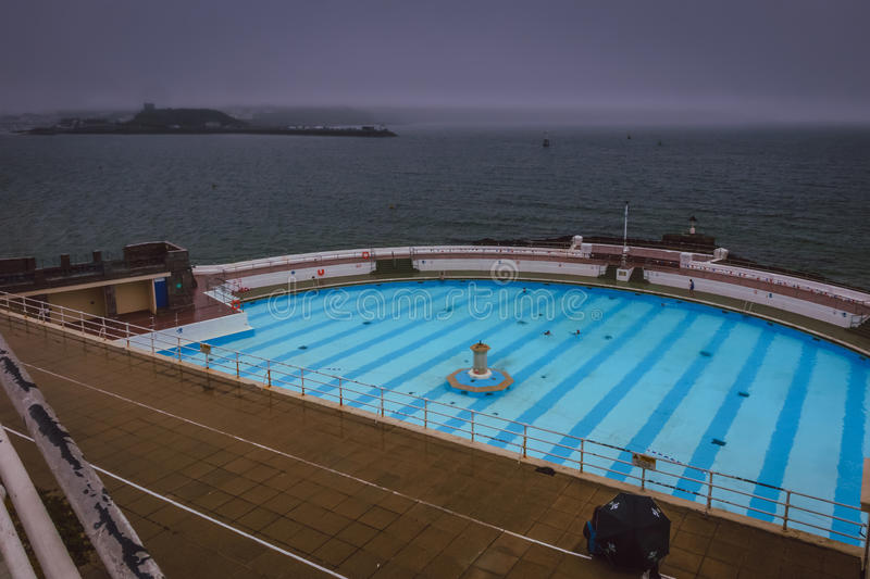 Tinside Lido in Plymouth. On a rainy day, England royalty free stock photography