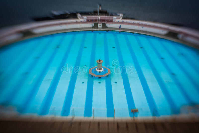 Tinside Lido in Plymouth. On a rainy day, England stock photo