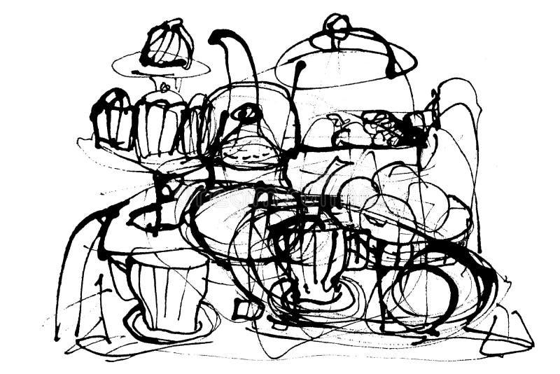 A tinta abstrata alinha o fundo do grunge fundo do tema do alimento ilustração do vetor