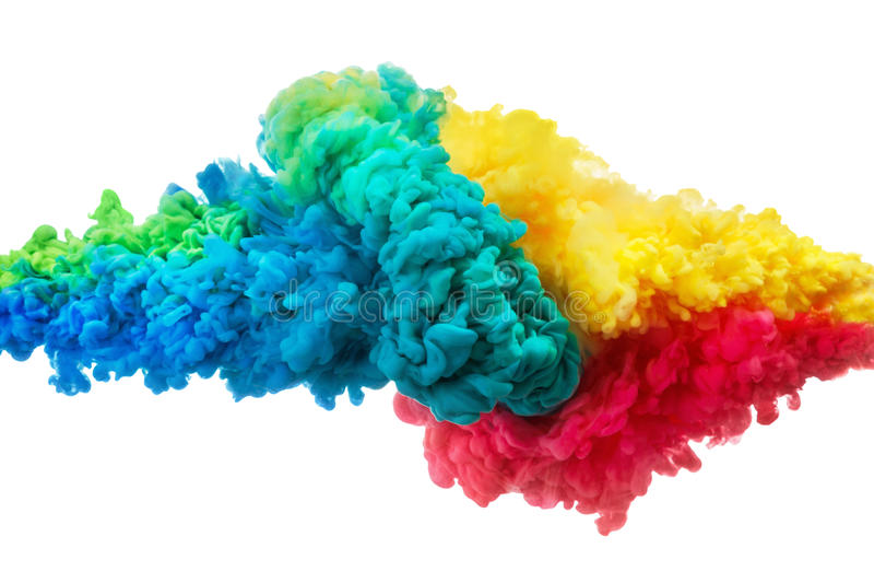 Tinta acrílica colorida na água isolada no branco abstraia o fundo Explosão da cor imagem de stock royalty free