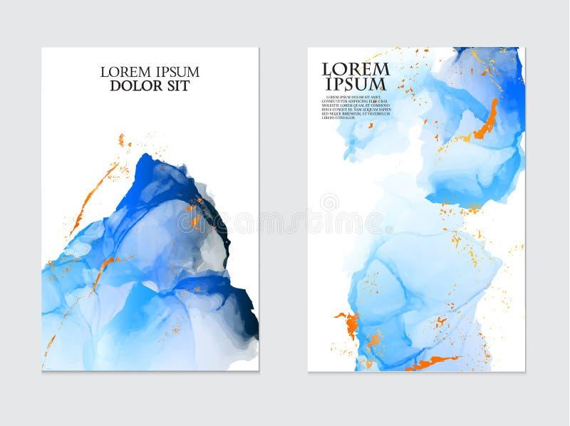 Tinta azul del flujo del líquido de la repetición de la acuarela del vector, colores de la marina de guerra con brillos anaranjad stock de ilustración
