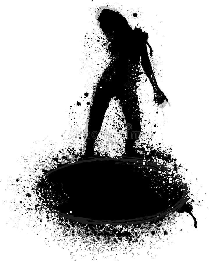 A tinta borra a silhueta ilustração do vetor