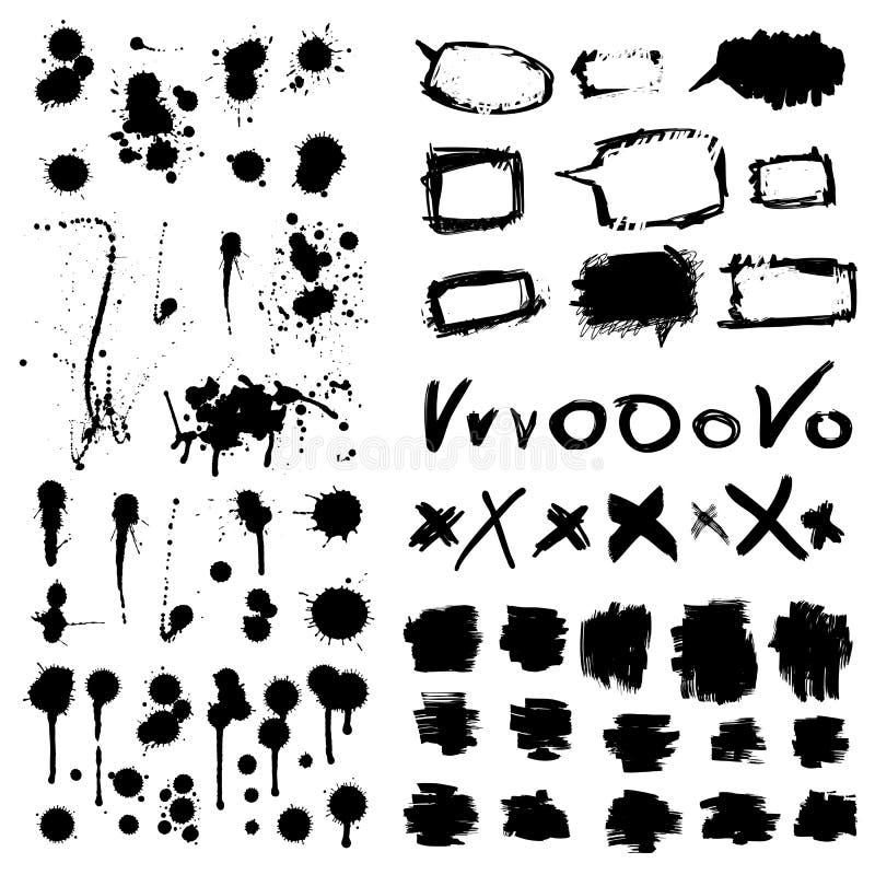 A tinta chapinha. Coleção dos elementos do projeto do Grunge. ilustração royalty free
