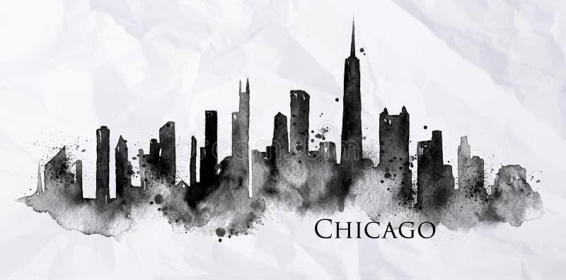 Tinta Chicago da silhueta ilustração royalty free