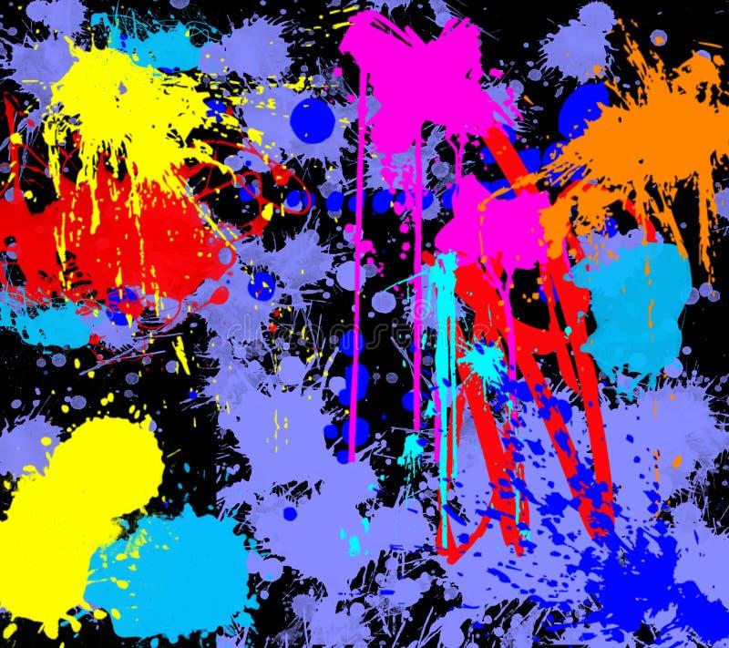 A tinta colorida espirra com um fundo preto imagem de stock