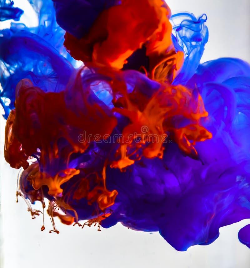 Tinta colorida que remolina en agua fotografía de archivo