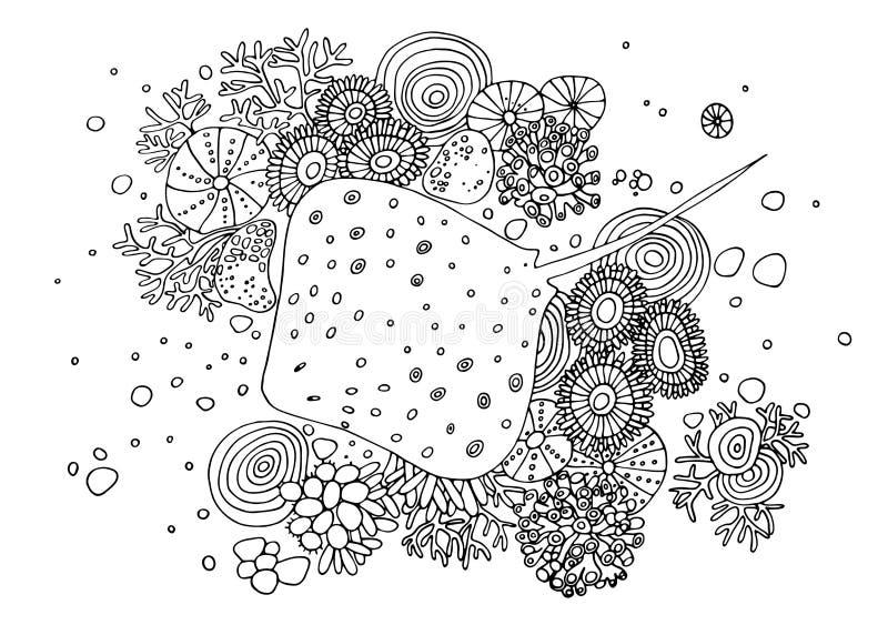 Tinta de fundo tirada mão com uma arraia-lixa na parte inferior As ilustrações preto e branco do desenho do vetor podem ser usada ilustração stock