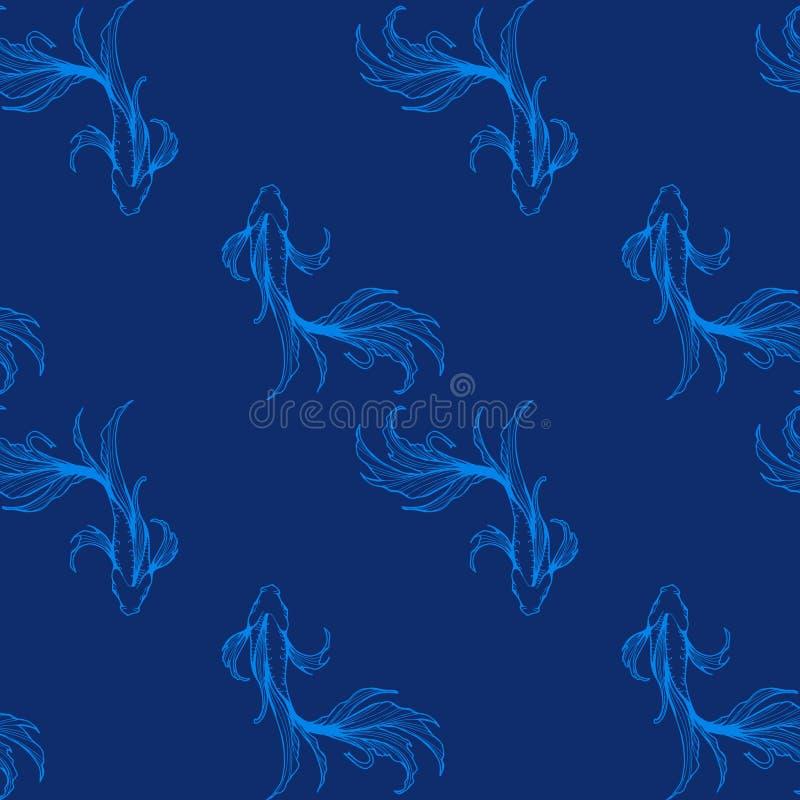 Tinta de la carta blanca de los pescados de la endecha que lucha plana o de la visión superior que dibuja el diseño oriental del  stock de ilustración