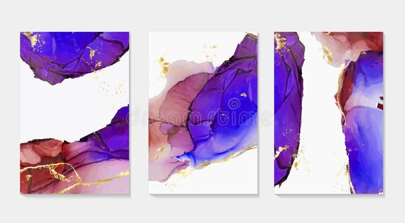 Tinta del alcohol, pintura, formas abstractas del vector Primer de la pintura Fondo l?quido abstracto colorido aceite Alto-textur ilustración del vector