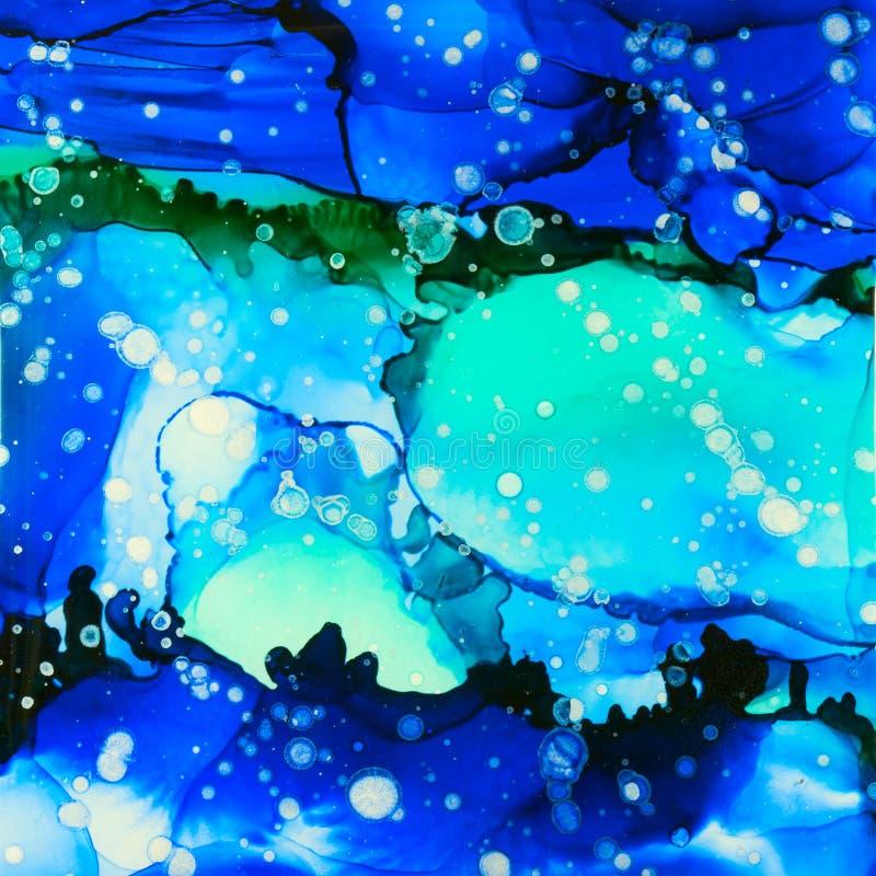 Tinta del paisaje marino y extracto del brillo libre illustration