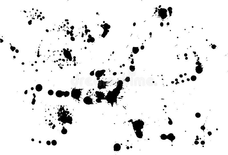 A tinta do vetor espirra A pintura feito a mão chapinha o fundo S preto ilustração royalty free