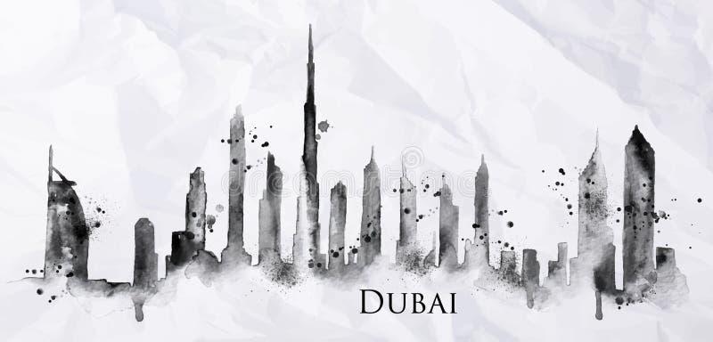 Tinta Dubai da silhueta ilustração royalty free