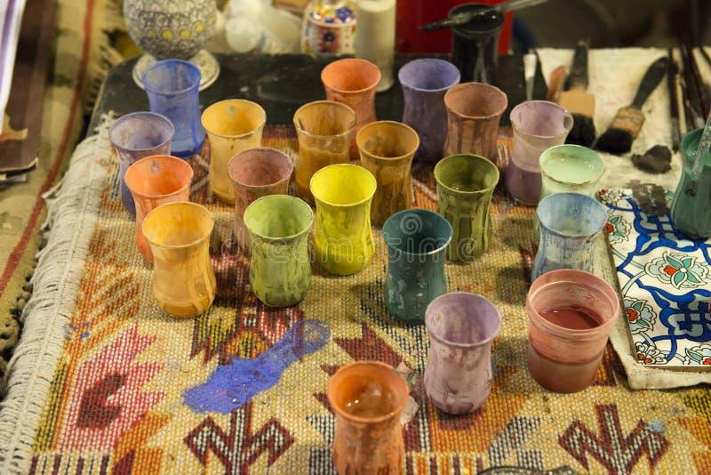 Tinta e pigmentos do artista para o trabalho de arte, Supples imagem de stock royalty free