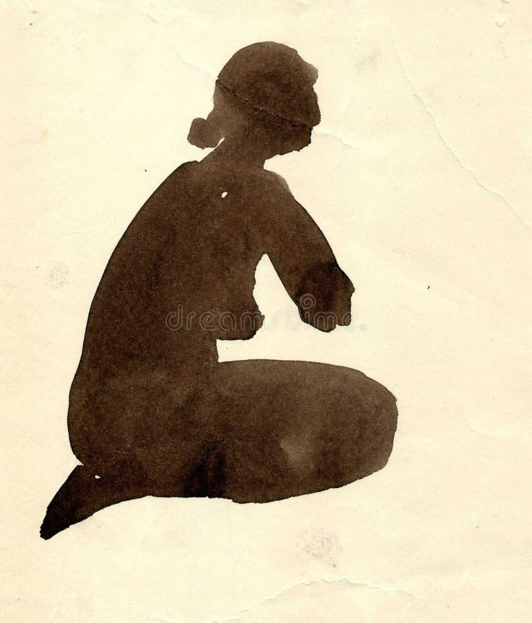 Tinta en el bosquejo del papel de la figura muchacha Modelo desnudo stock de ilustración