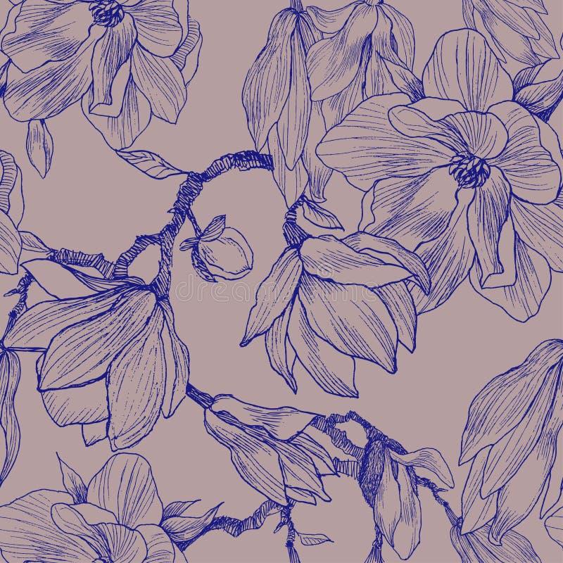 Tinta, lápiz, las hojas y flores de la magnolia Fondo inconsútil del modelo Pintura dibujada mano de la naturaleza freehand libre illustration