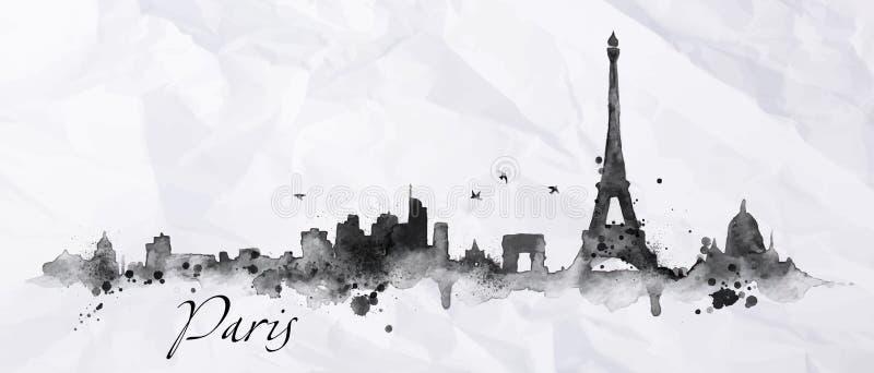 Tinta Paris da silhueta ilustração royalty free