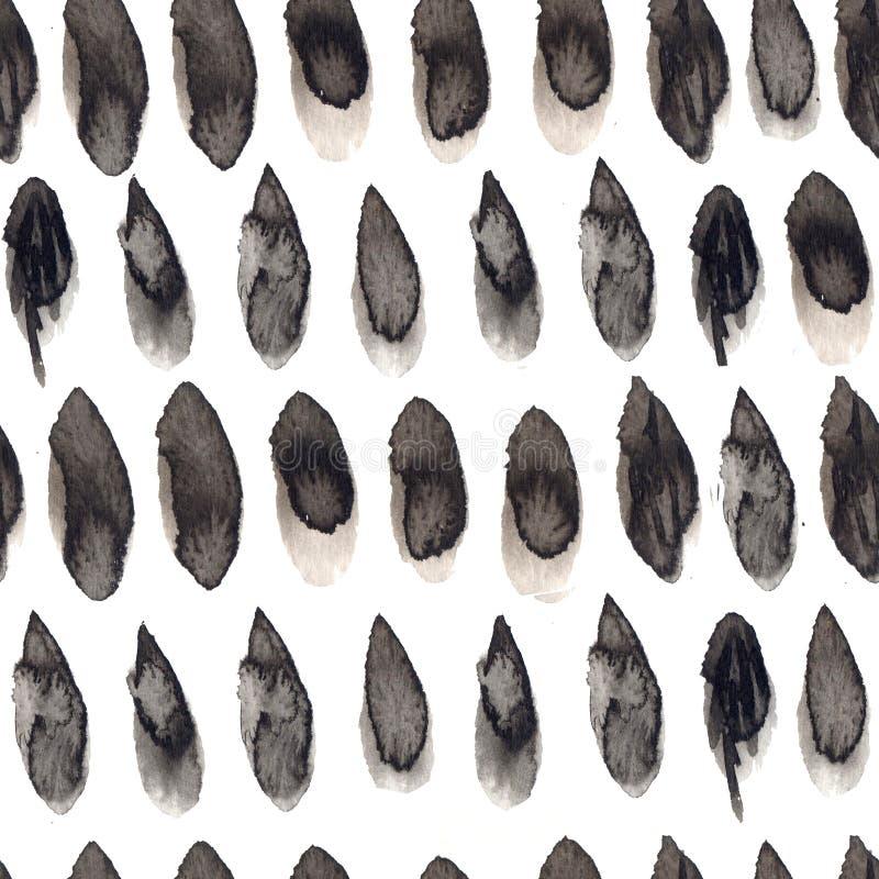 A tinta preta e cinzenta deixa cair o teste padrão sem emenda Entregue a textura tirada com os pontos da pintura, telha repetida  ilustração royalty free