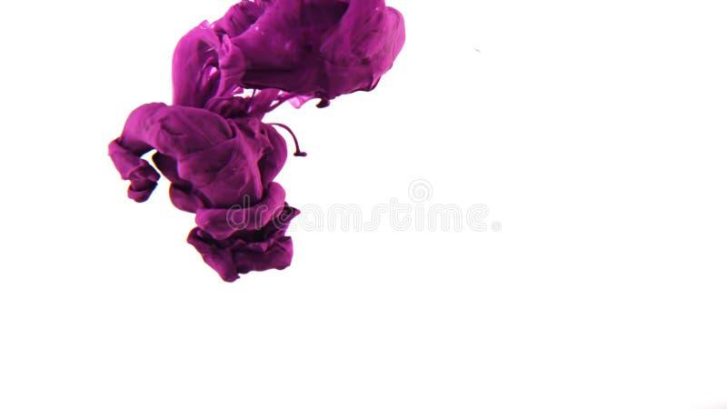 Tinta que remolina en el agua, descenso del color en el agua fotografiada en el movimiento imagen de archivo libre de regalías