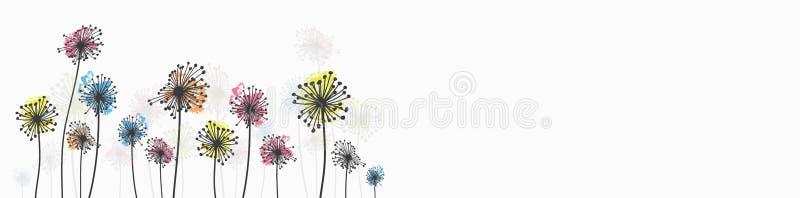 Tinta que tira flores selvagens ilustração do vetor