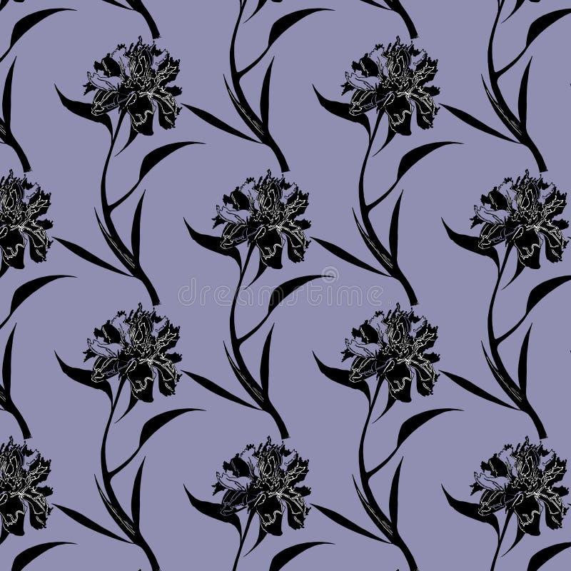 Tinta que tira o teste padrão de flores preto da peônia no fundo roxo ilustração do vetor